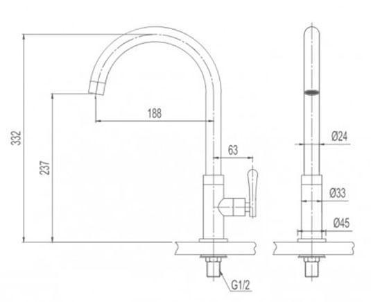 Kết quả hình ảnh cho bản vẽ Vòi bếp lạnh INAX SFV-30